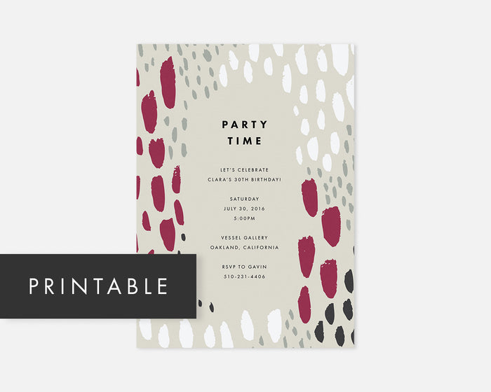 Spotted Invitation - Taupe [Printable]