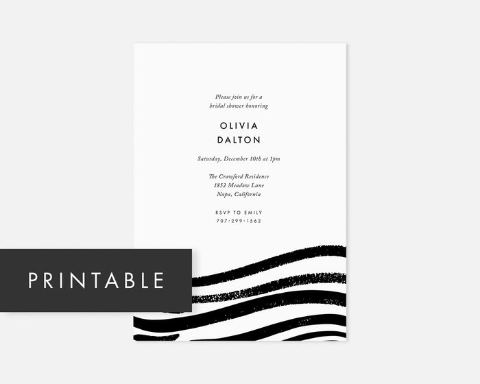 Swell Invitation - Black [Printable]