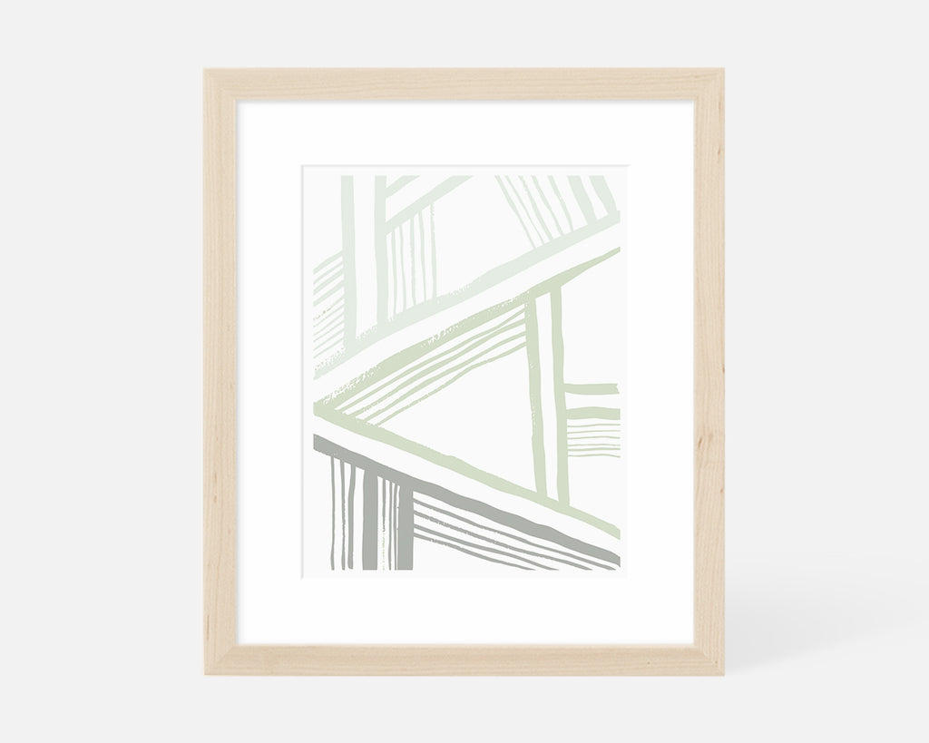 sage green abstract art print in natural wood frame