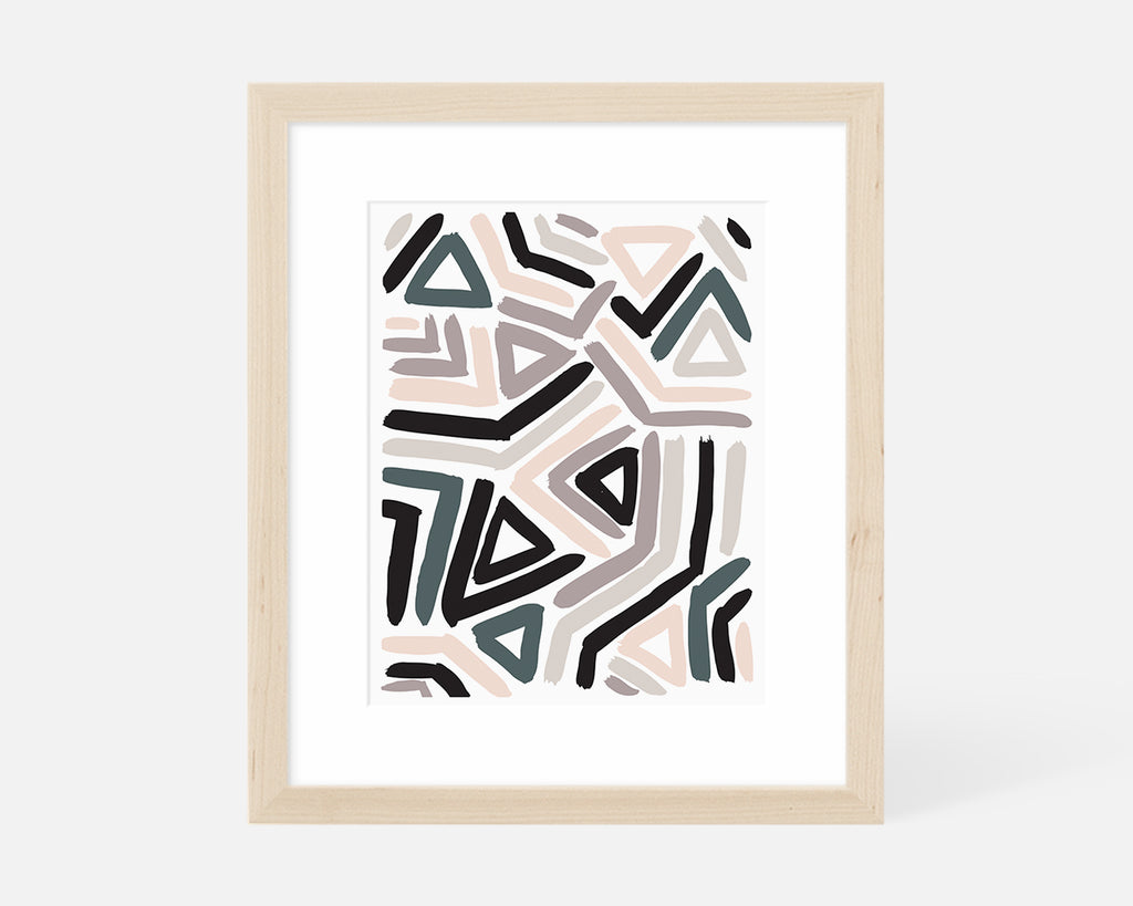pastel abstract art print with natural wood frame