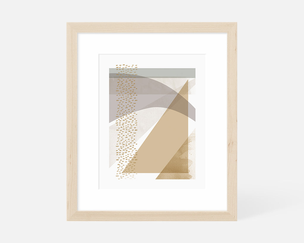 muted abstract geometric art print with natural wood frame