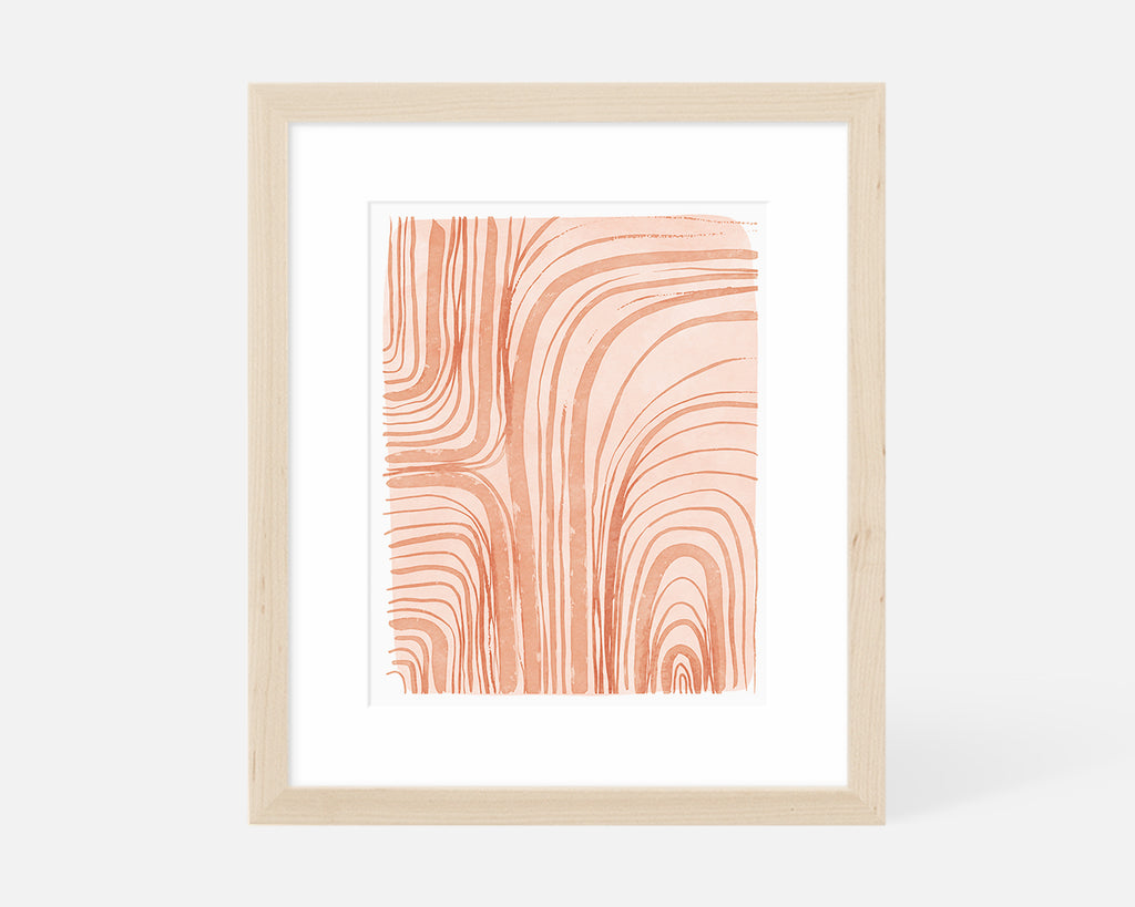 coral abstract art print with natural wood frame