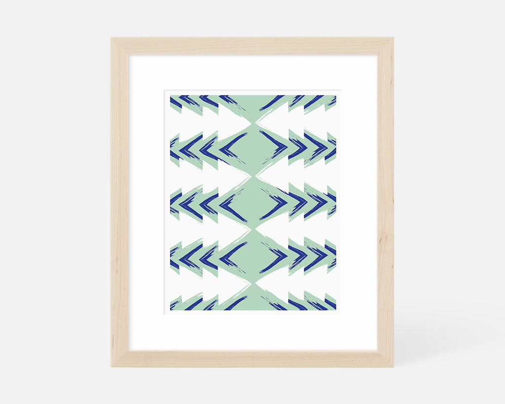 blue and green mid century modern art print with natural wood frame