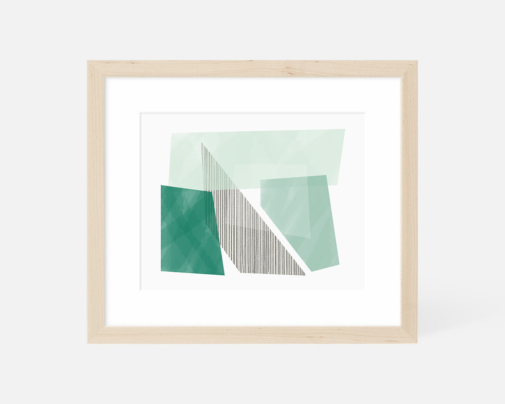green Mid Century Modern art print with natural wood frame