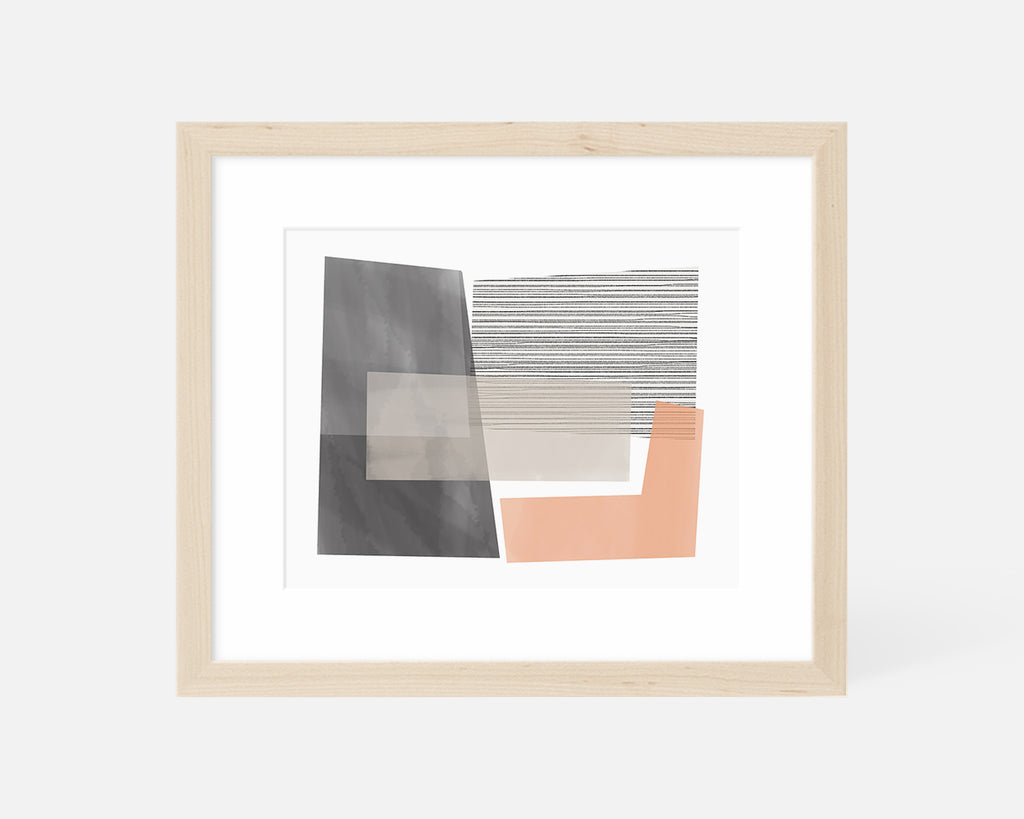 pink and gray Mid Century Modern art print with natural wood frame