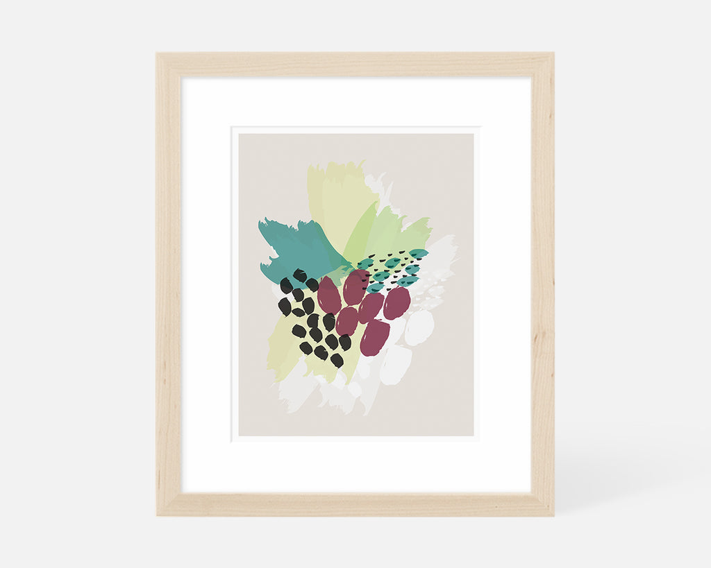 purple and green abstract floral art print with natural wood frame