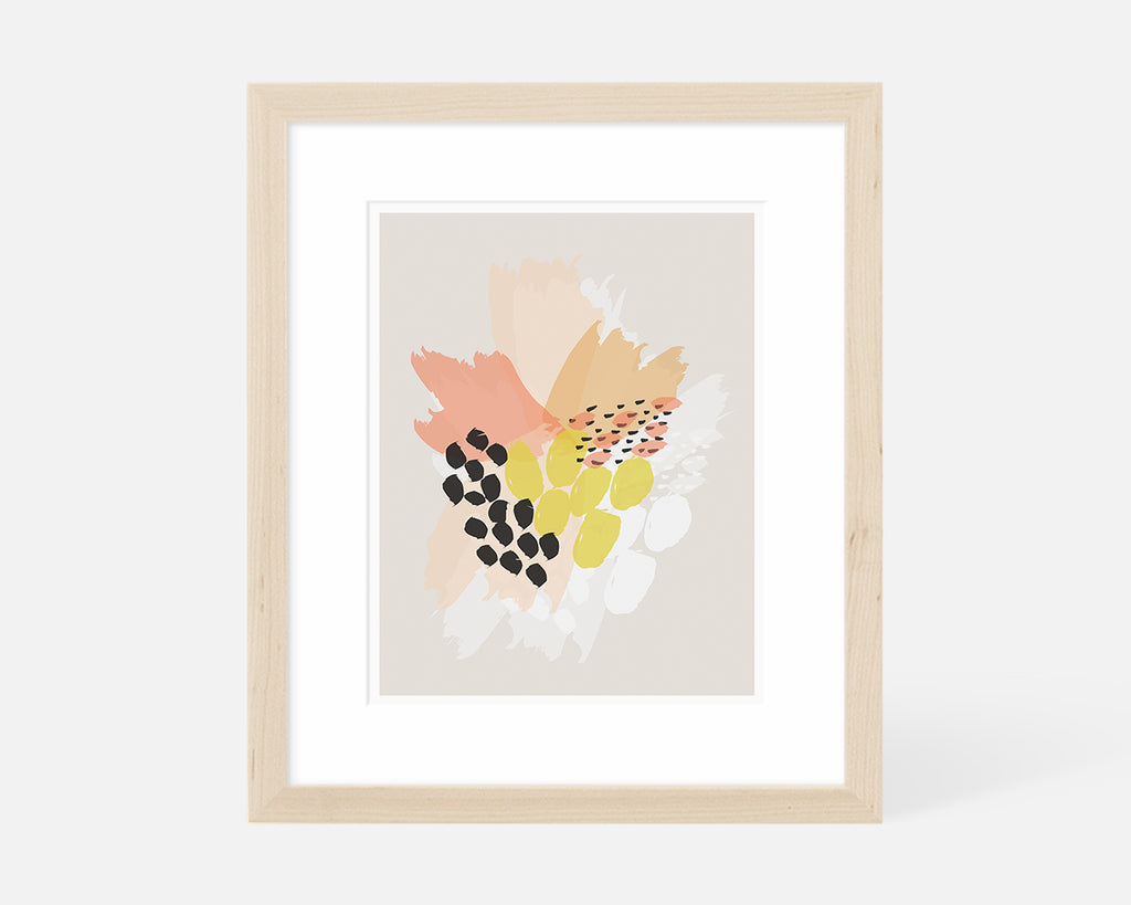 pink orange and yellow abstract floral art print with natural wood frame