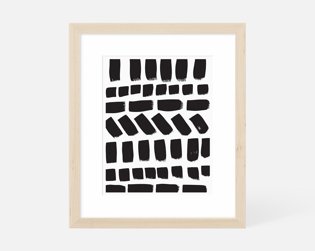 black and white minimalist art print with natural wood frame