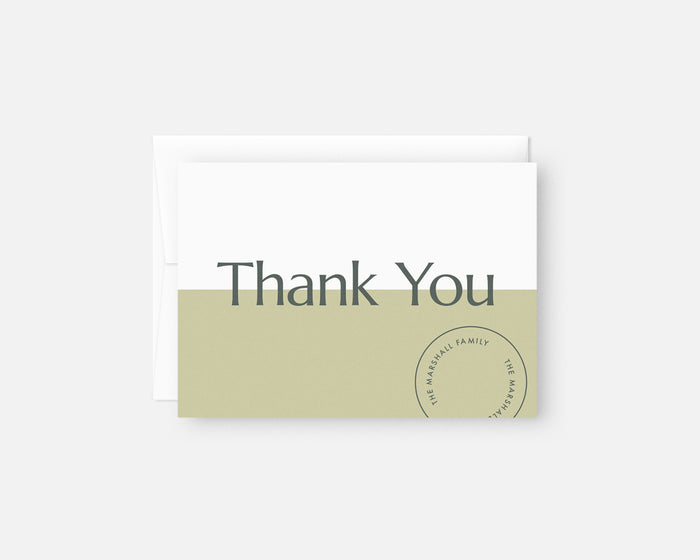 Date Stamp Thank You Notes - Green