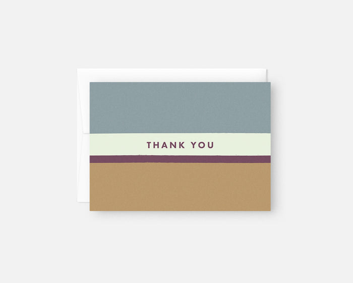 minimalist thank you notes with blue purple and yellow stripes