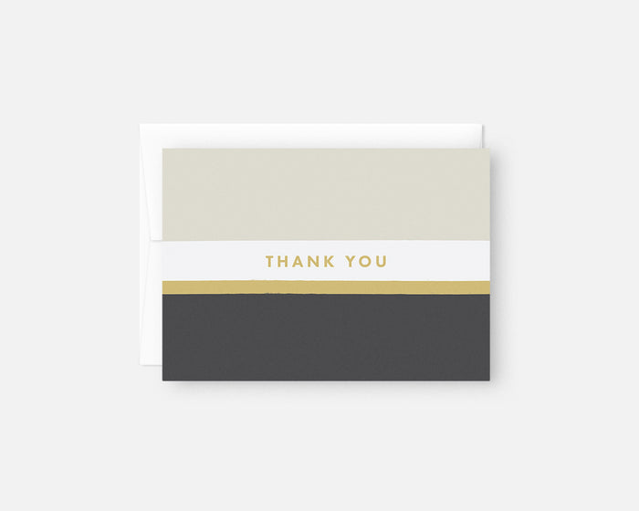 minimalist thank you notes with taupe yellow and charcoal stripes