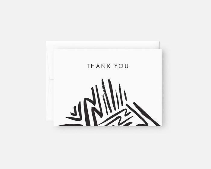 black and white patterned thank you notes