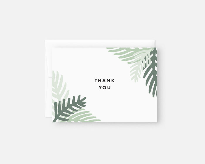 green palm leaf thank you notes