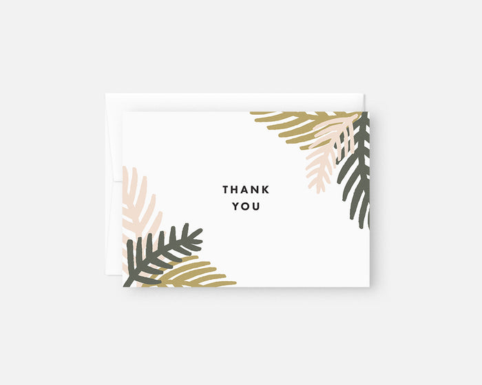 pink and green palm leaf thank you notes