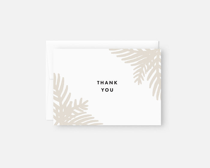 neutral palm leaf thank you notes