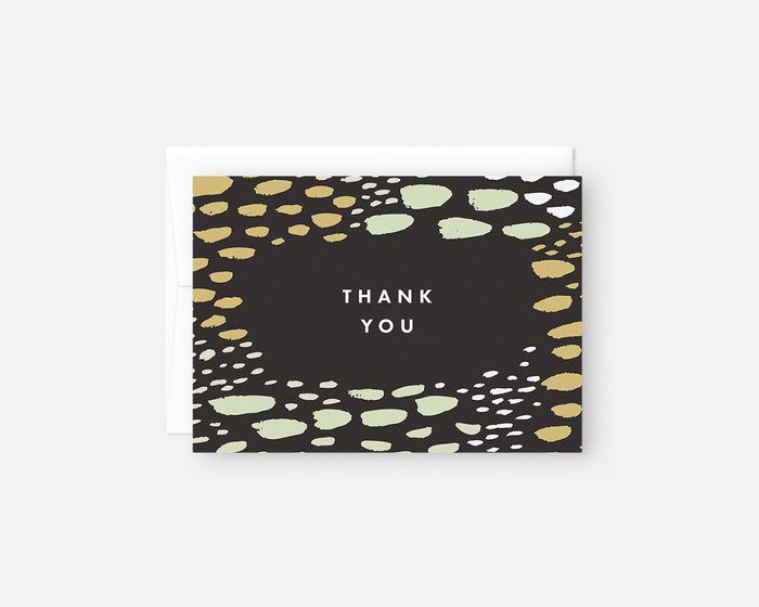 blue and green patterned thank you notes