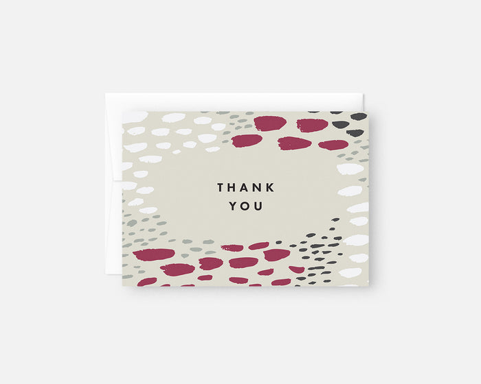 pink and green patterned thank you notes