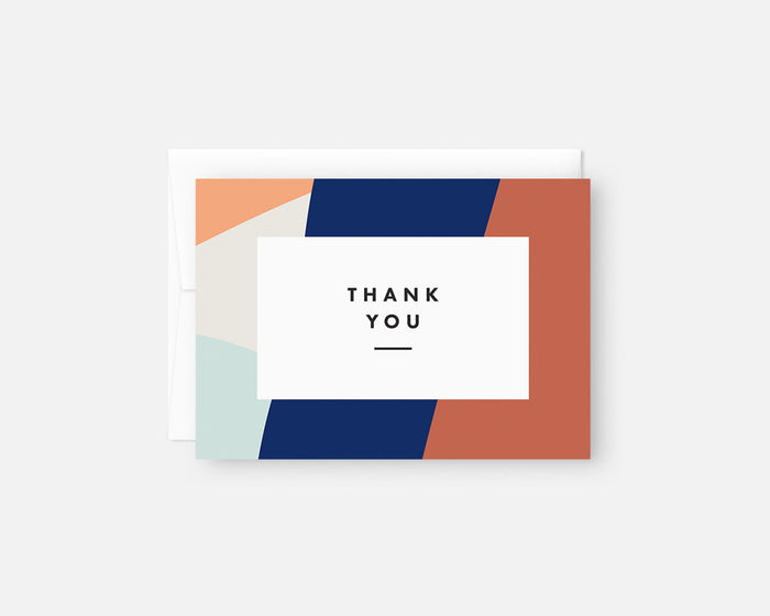 blue and orange modern thank you notes