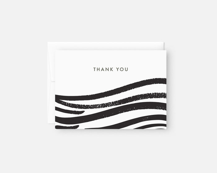 black and white minimalist thank you notes