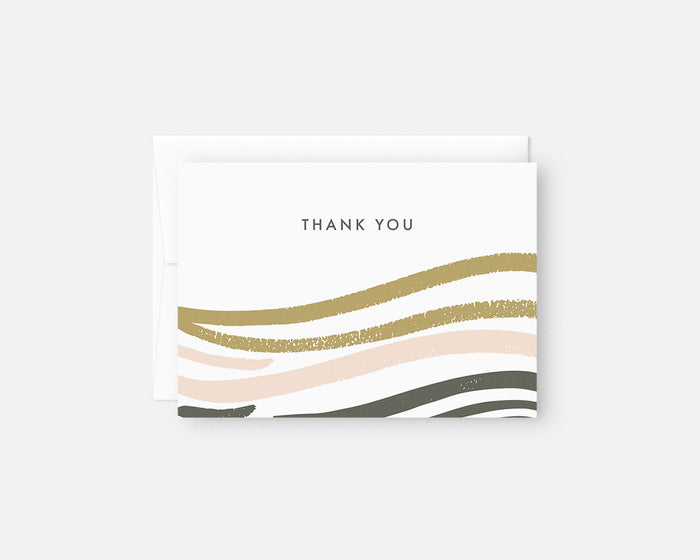 pink and green minimalist thank you notes