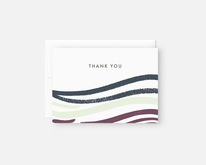 purple and blue minimalist thank you notes
