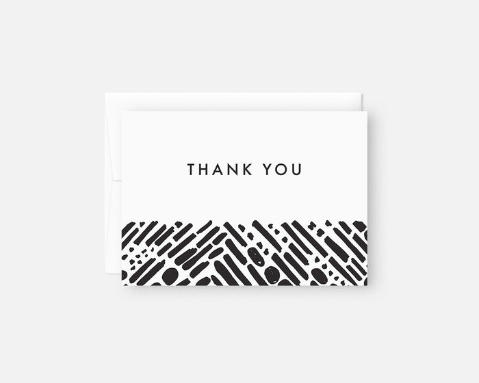 black and white modern thank you notes