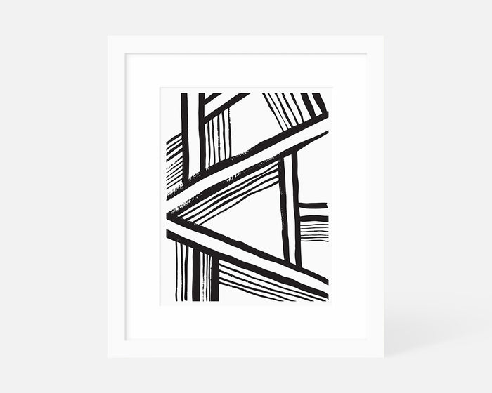 Minimalist Black and White Abstract Art Print With White Frame - Jaymee Srp