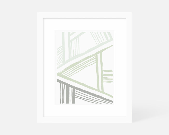 sage green abstract art print in white frame