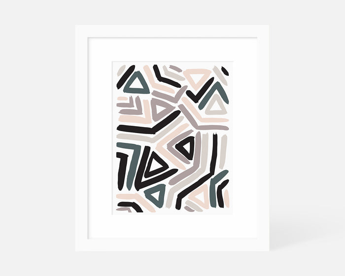 pastel abstract art print with white frame