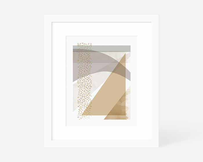 muted abstract geometric art print with white frame