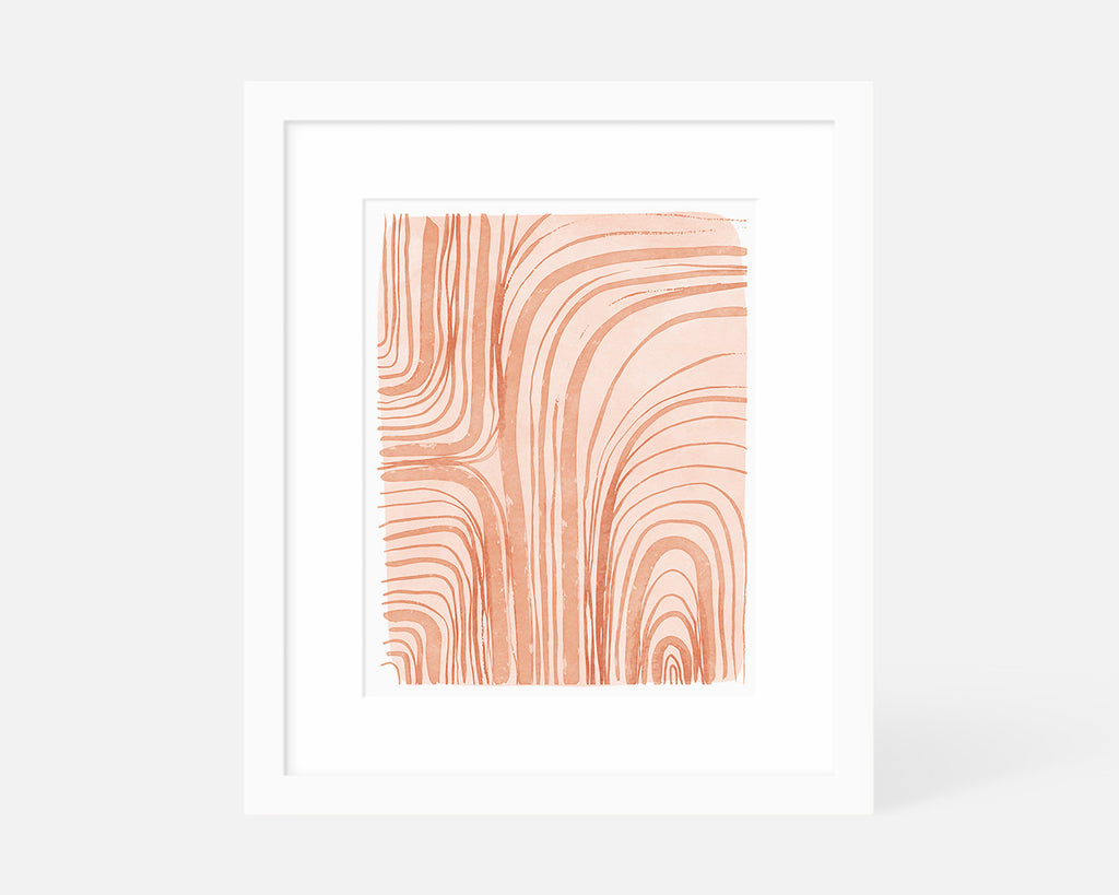 coral abstract art print with white frame