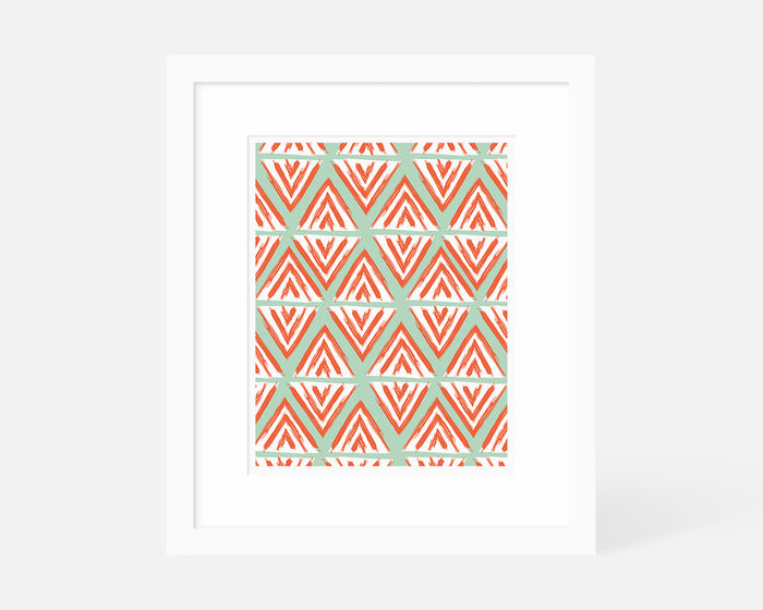 coral and mint geometric art print with white frame