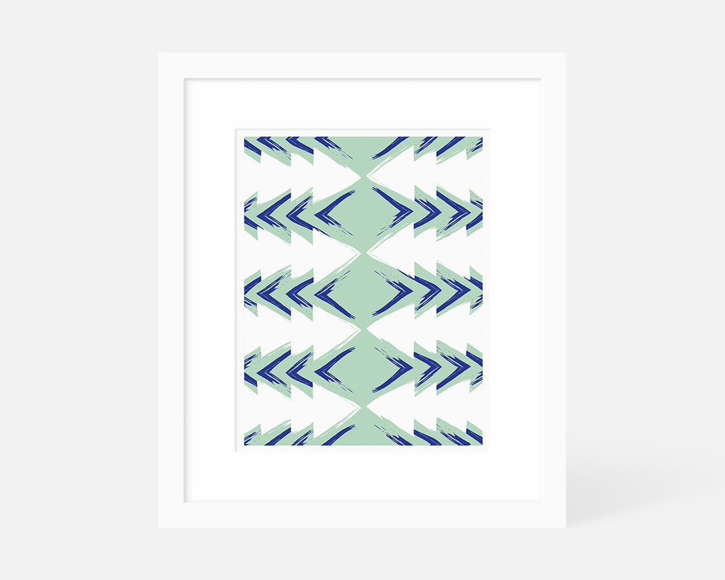 blue and green mid century modern art print with white frame