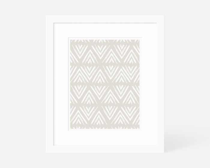neutral geometric art print with white frame