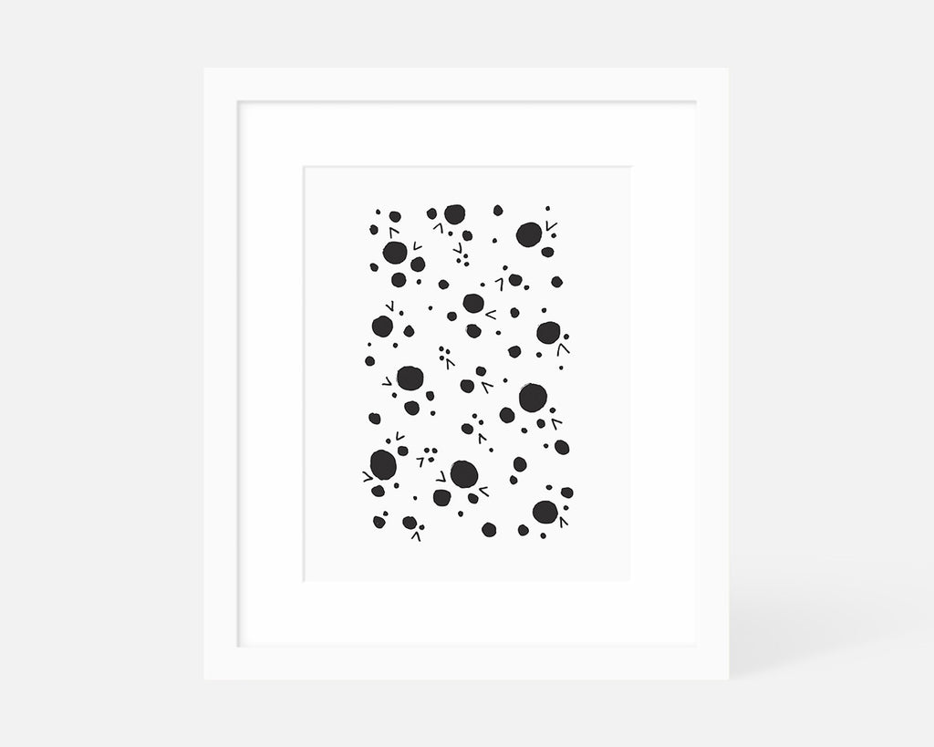 black and white Scandinavian art print with white frame