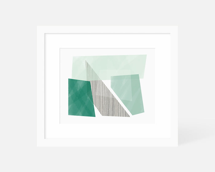 green Mid Century Modern art print with white frame