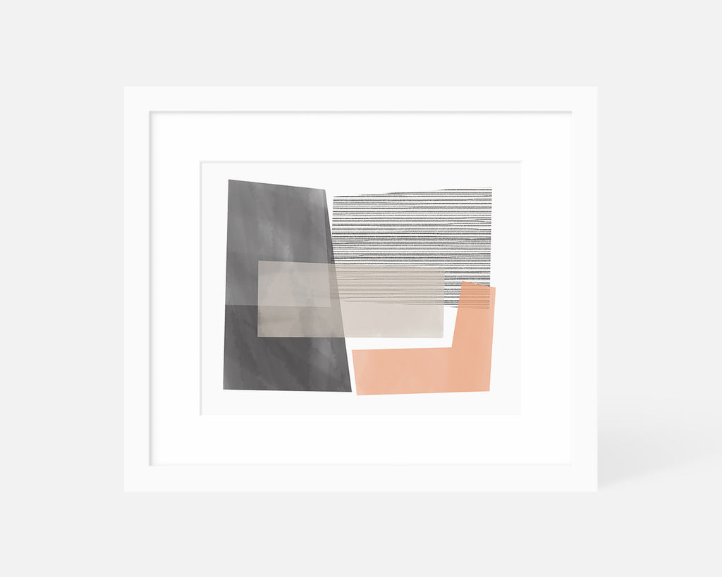 pink and gray Mid Century Modern art print with white frame