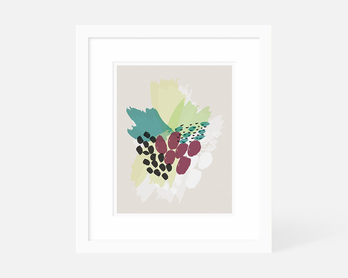 purple and green abstract floral art print with white frame
