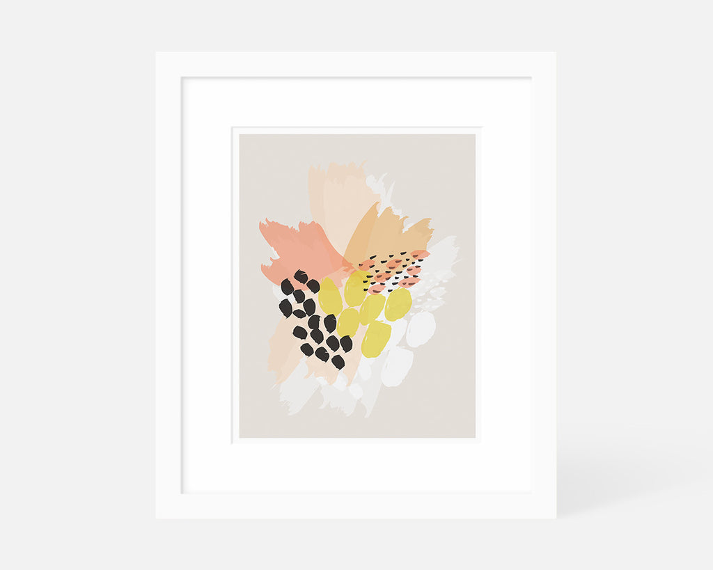pink orange and yellow abstract floral art print with white frame