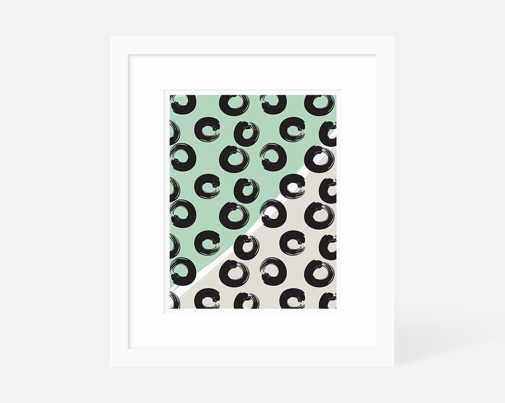 mint green geometric art print with white frame