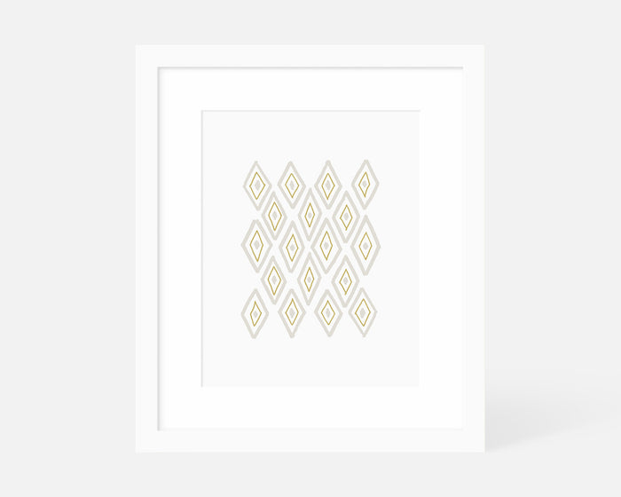 yellow Mid Century Modern art print with white frame