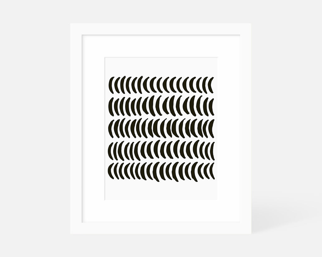 black and white minimalist moon art print with white frame