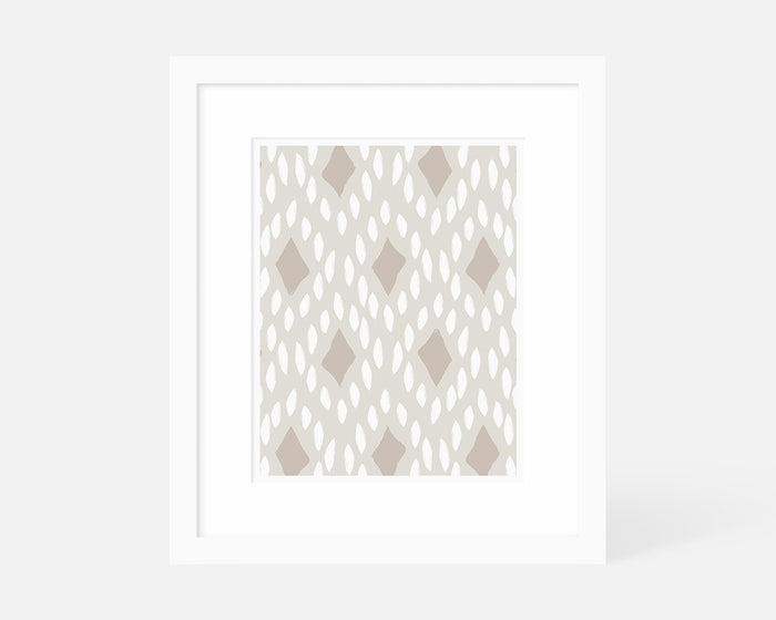 neutral Mid Century Modern art print with white frame