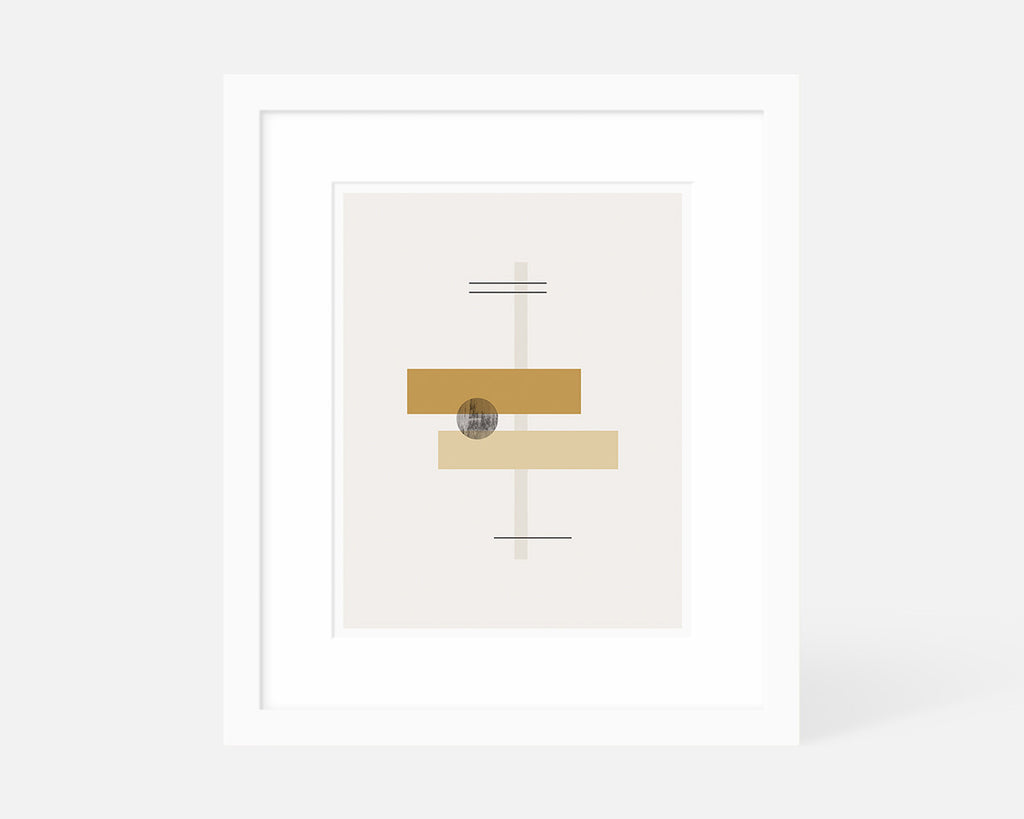 orange abstract geometric graphic art print with white frame