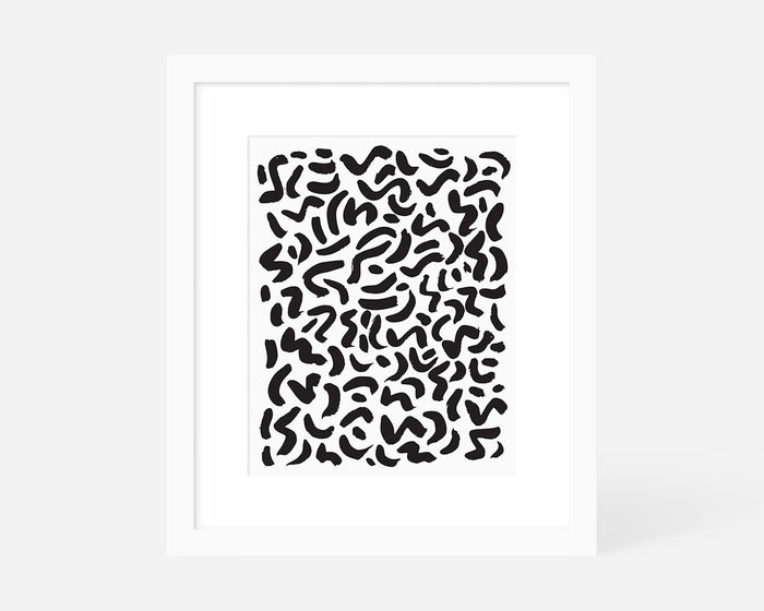 abstract black and white art print with white frame