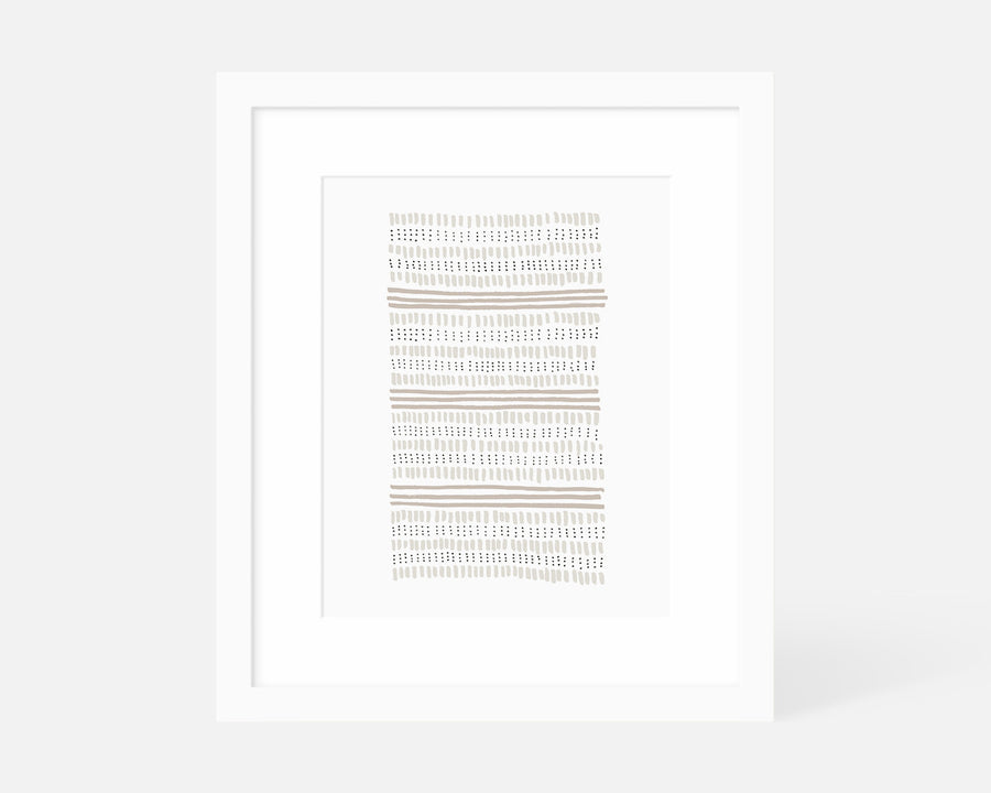 Dots and Dashes Art Print - Taupe