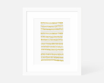 Dots and Dashes Art Print - Yellow