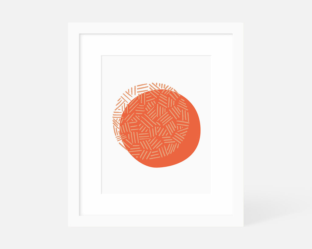 coral and pink minimalist art print with white frame