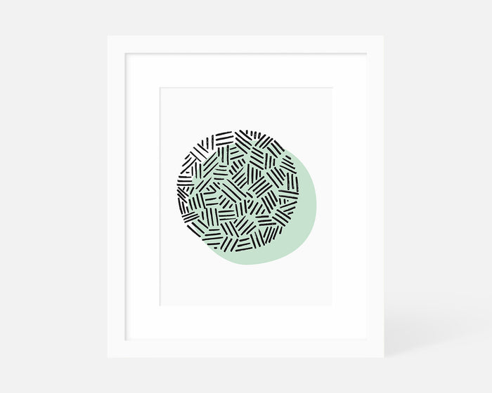 mint green minimalist art print with white frame