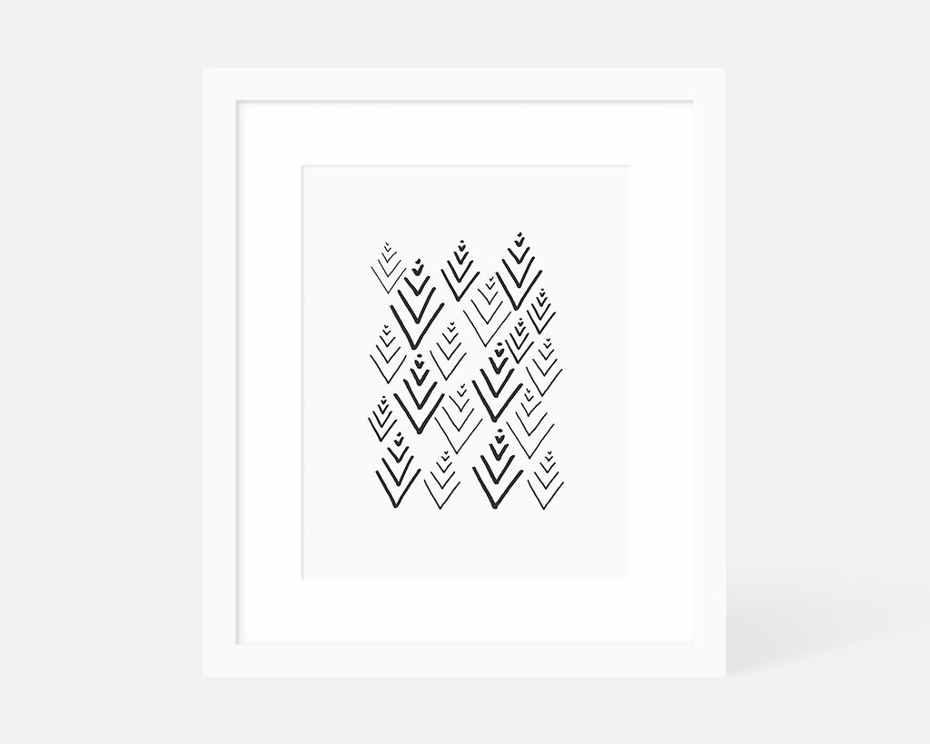 black and white Scandinavian tree art print with white frame